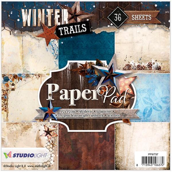 Assortiment papier scrapbooking 15 x 15 cm - Hiver rustique - 36 feuilles - Photo n°1