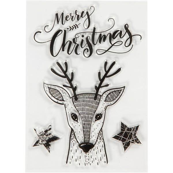 Assortiment tampon clear Cerf joyeux Noël - 2,5 à 9 cm - 4 pcs - Photo n°1