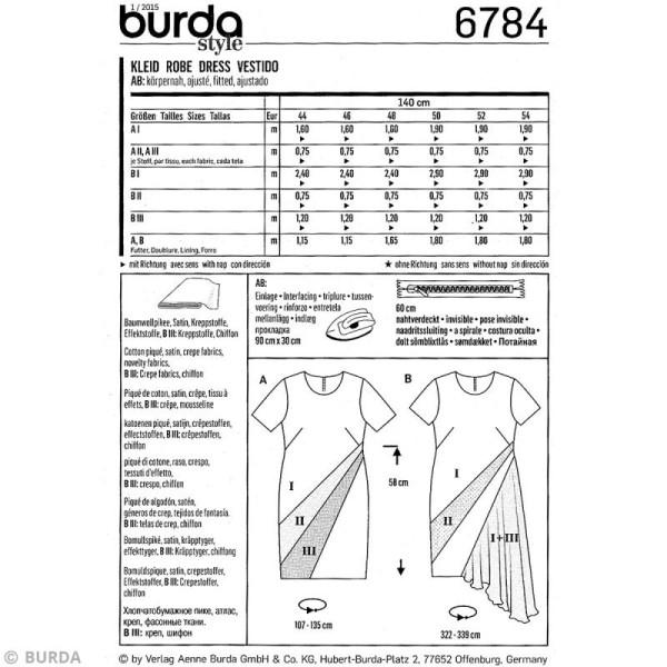 Patron Burda - Femme - Robe graphique grande taille - 6784 - Photo n°4