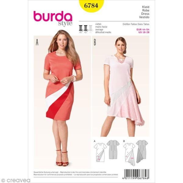 Patron Burda - Femme - Robe graphique grande taille - 6784 - Photo n°1