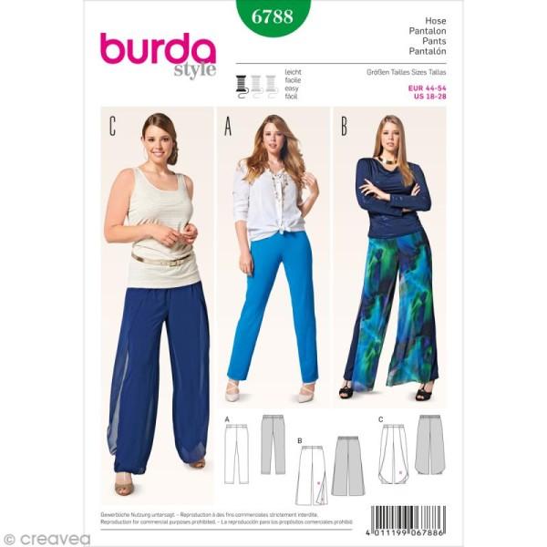 Patron Burda , Femme , Pantalon décontracté grande taille , 6788 , Photo n°1