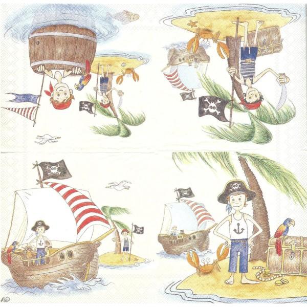 4 Serviettes en papier Enfant Pirate Mer Format Lunch - Photo n°2