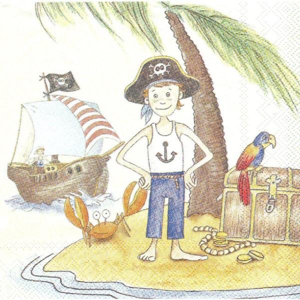 4 Serviettes en papier Enfant Pirate Mer Format Lunch - Photo n°1