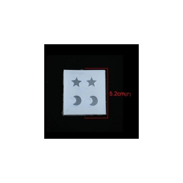 PS110116788 PAX 1 Moule en Silicone Pendentif Lune et Etoile pour Creation Fimo Resine - Photo n°1
