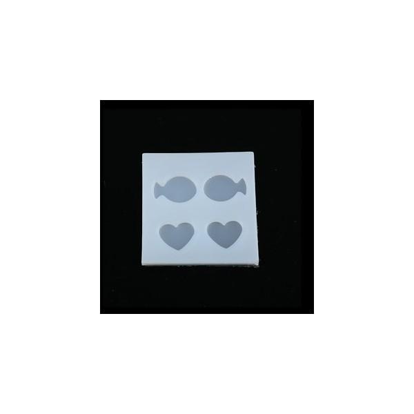 PS110116787 PAX 1 Moule en Silicone Pendentif Poisson et Coeur pour Creation Fimo Resine - Photo n°1