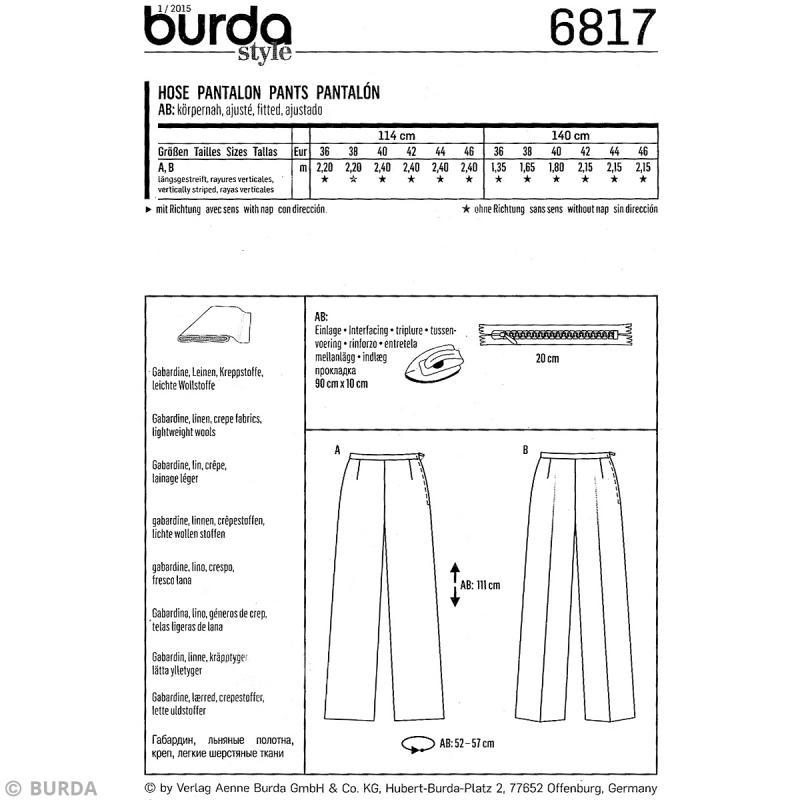 Pantalon Patron Patron Burda de haute Femme 6817 taille qqPEpwz 8552379a25b