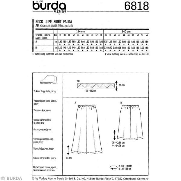 Patron Burda - Femme - Jupe cloche - 6818 - Photo n°4