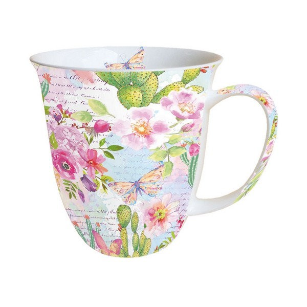Mug, tasse, porcelaine AMBIENTE 10.5 cm 0.4 l ROSE AND CACTI - Photo n°1