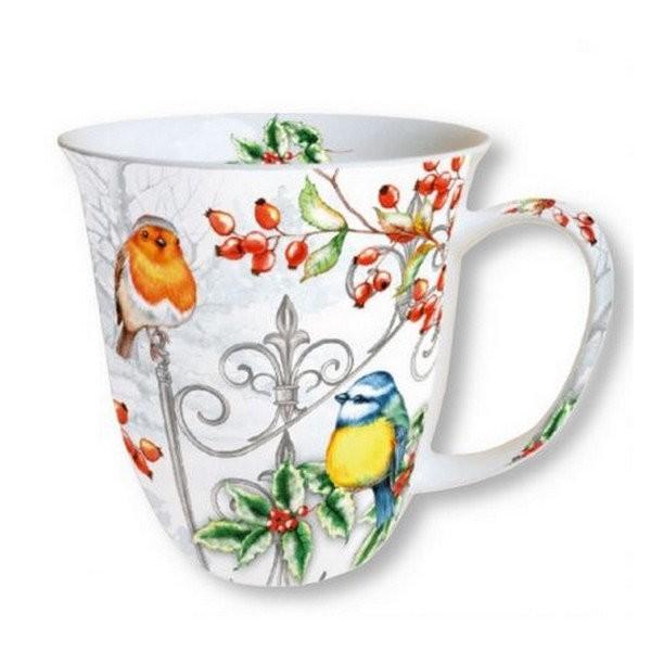 Mug, tasse, porcelaine AMBIENTE 10.5 cm 0.4 l BIRDS AND HOLLY - Photo n°1