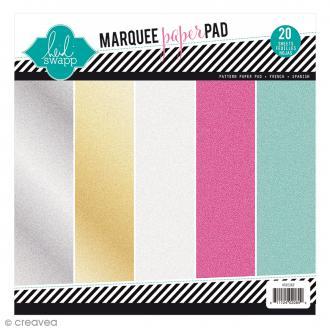 Bloc de papier pailleté Marquee Love - 20 feuilles de 21,6 x 21,6 cm