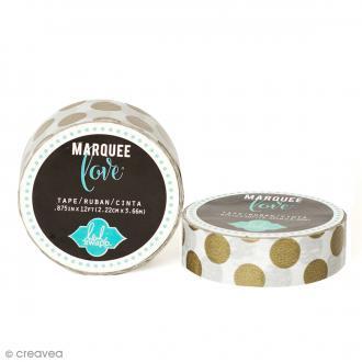 Masking tape Marquee Love - Blanc à pois dorés - 2,22 cm x 3,66 m