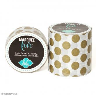 Masking tape large Marquee Love - Blanc à pois dorés - 5,08 cm x 2,74 m
