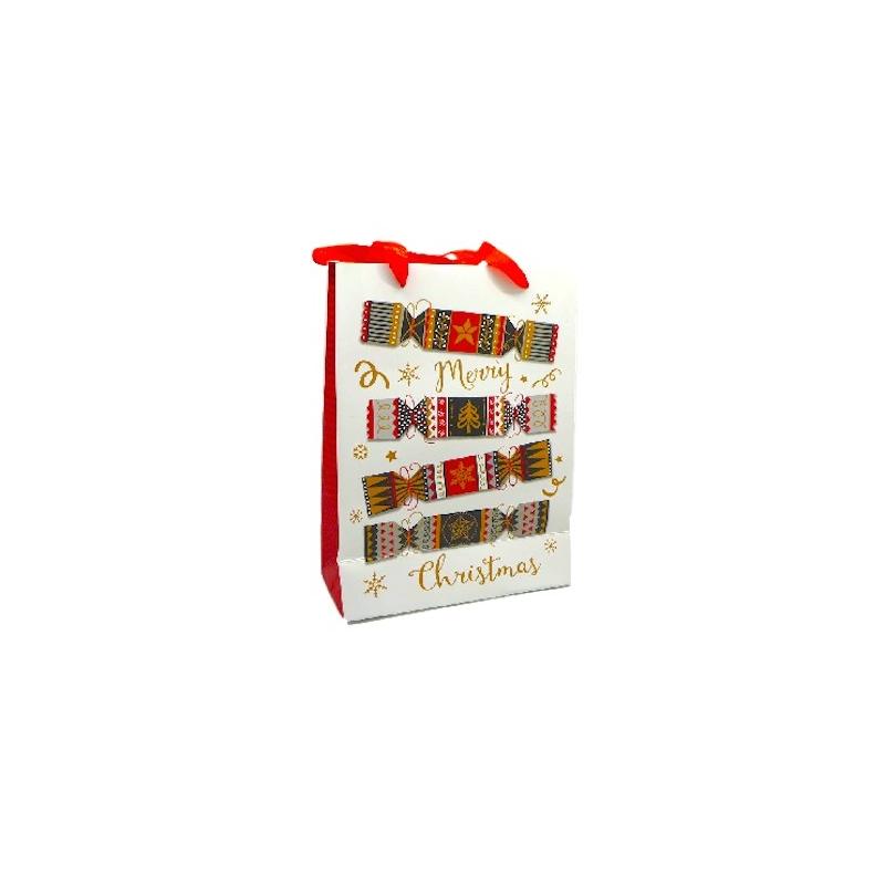 pochette cadeau papier cartonn glac motif crackers de no l dor noir rouge et blanc. Black Bedroom Furniture Sets. Home Design Ideas