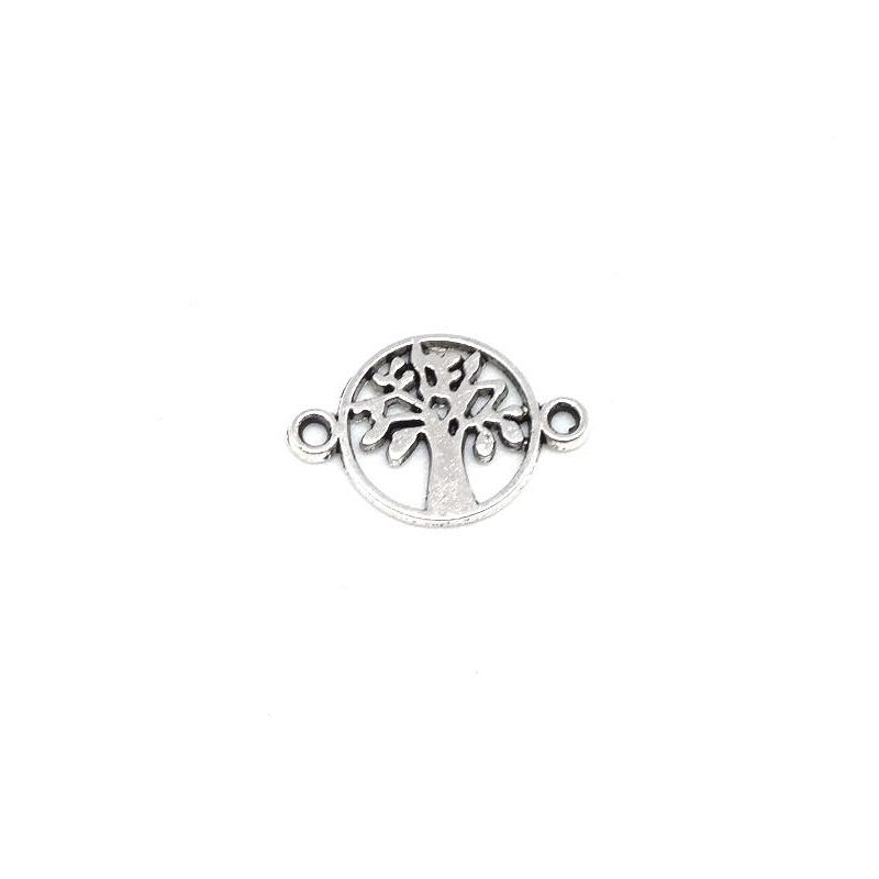 10 petites perles connecteurs arbre de vie en m tal argent porte bonheur breloque. Black Bedroom Furniture Sets. Home Design Ideas