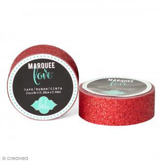 Masking tape pailleté Marquee Love - Rouge - 2,22 cm x 3,05 m