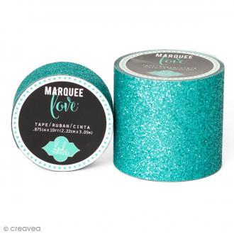 Masking tape large pailleté Marquee Love - Bleu canard - 5,08 cm x 2,44 m