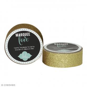 Masking tape pailleté Marquee Love - Jaune doré - 2,22 cm x 3,05 m