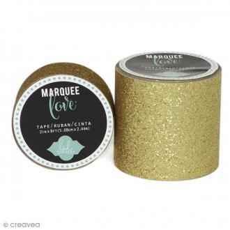 Masking tape large pailleté Marquee Love - Jaune doré - 5,08 cm x 2,44 m