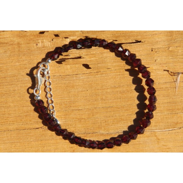 Bracelet en grenat, perles rondes de 5 mm - Photo n°4