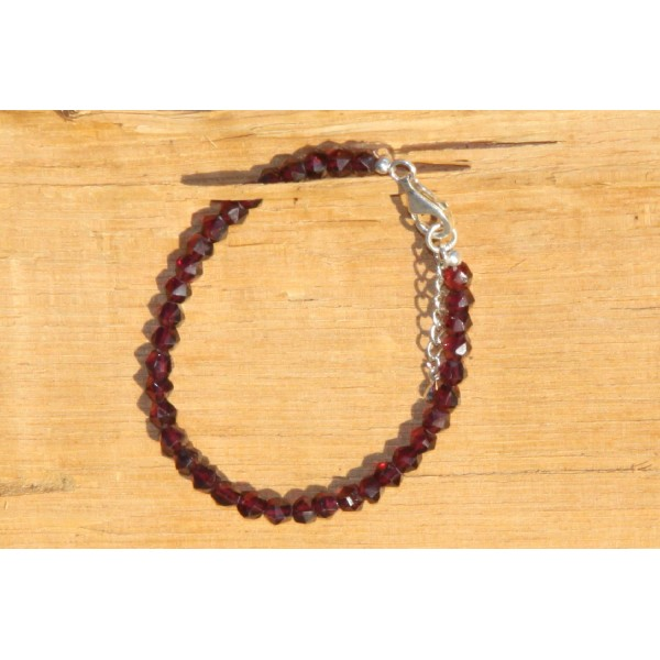 Bracelet en grenat, perles rondes de 5 mm - Photo n°1