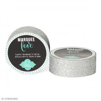 Masking tape pailleté Marquee Love - Gris argenté - 2,22 cm x 3,05 m