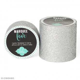 Masking tape large pailleté Marquee Love - Gris argenté - 5,08 cm x 2,44 m