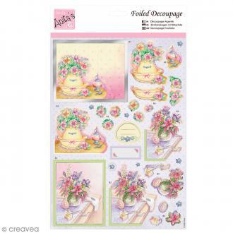 Carte 3D - Coiffeuse à fleurs - 1 planche A4