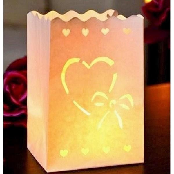 Photophore en papier ignifugé, Coeur et petit noeud, Lot de 10, Hauteur 16cm x Largeur 11cm - Photo n°1