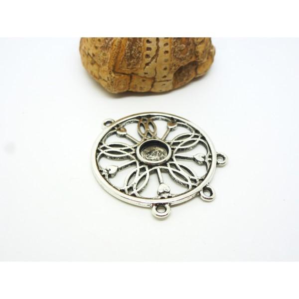 2 Pendentifs connecteurs bohèmes ronds - argent vieilli - 41*31mm - Photo n°1