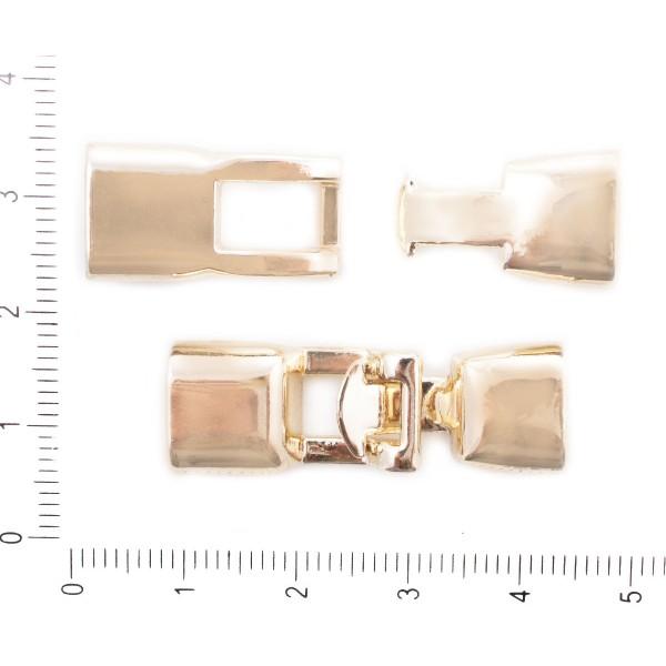 1pc Or Pli Sur le Fermoir à Cordon en Cuir Fermoir en Métal Conclusions de 11 mm x 35 mm x 7mm, Trou - Photo n°1