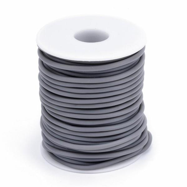 Cordon creux caoutchouc  2 mm gris - Photo n°3