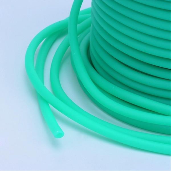 Cordon creux caoutchouc  2 mm turquoise - Photo n°2