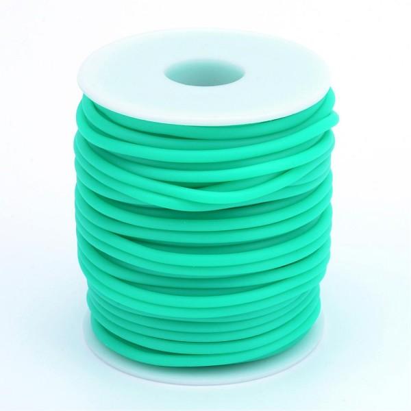 Cordon creux caoutchouc  2 mm turquoise - Photo n°3