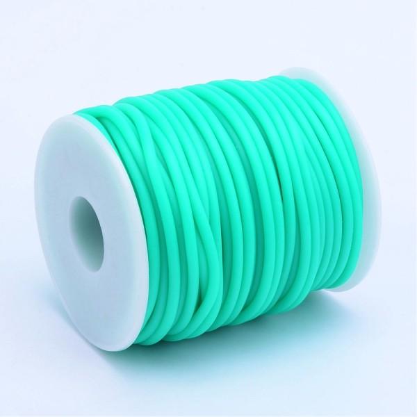 Cordon creux caoutchouc  2 mm turquoise - Photo n°1