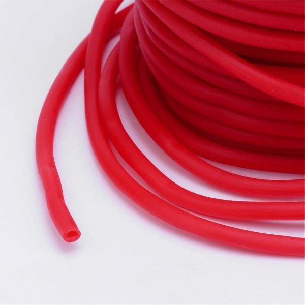 Cordon creux caoutchouc 3 mm rouge - Photo n°2