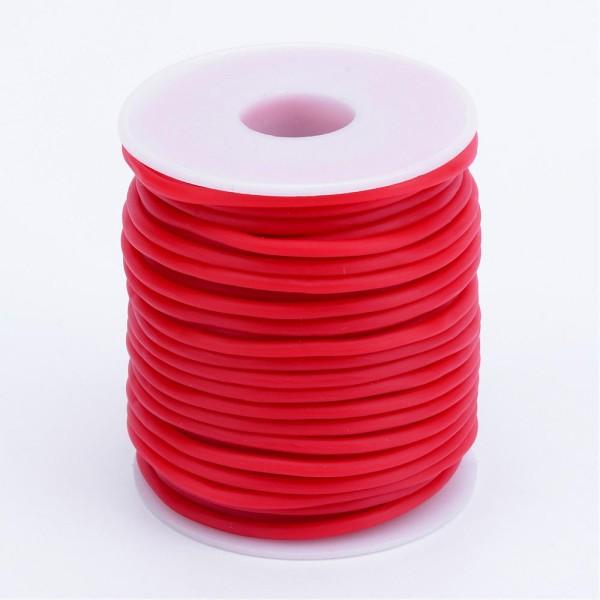 Cordon creux caoutchouc 3 mm rouge - Photo n°3