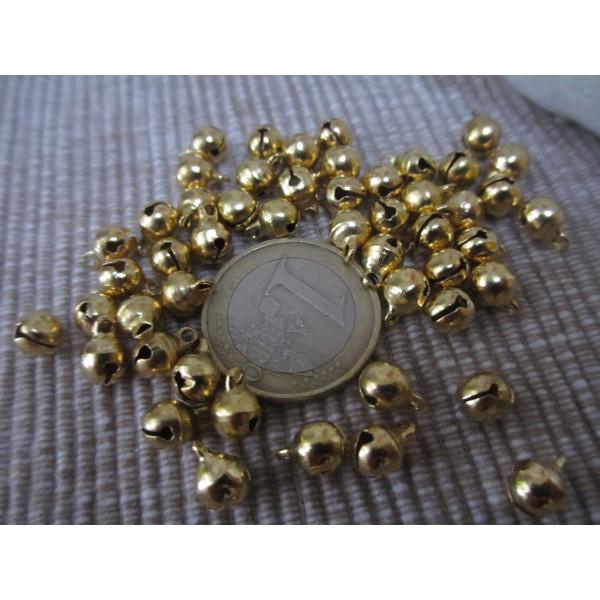 Grelot doré,8mm,rond,30 pces,qualité sup.laiton pour bijoux,fêtes,décoration - Photo n°2