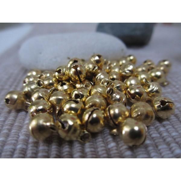 Grelot doré,8mm,rond,30 pces,qualité sup.laiton pour bijoux,fêtes,décoration - Photo n°3