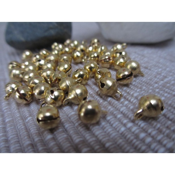 Grelot doré,8mm,rond,30 pces,qualité sup.laiton pour bijoux,fêtes,décoration - Photo n°1