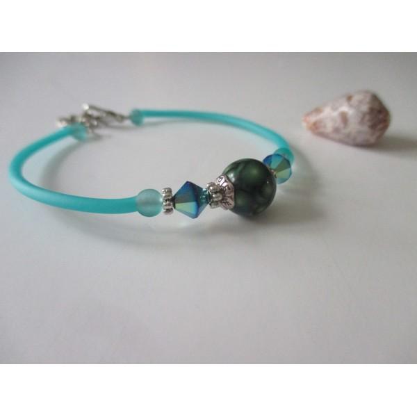 Kit bracelet fil à mémoire de forme turquoise et apprêt argent mat - Photo n°2