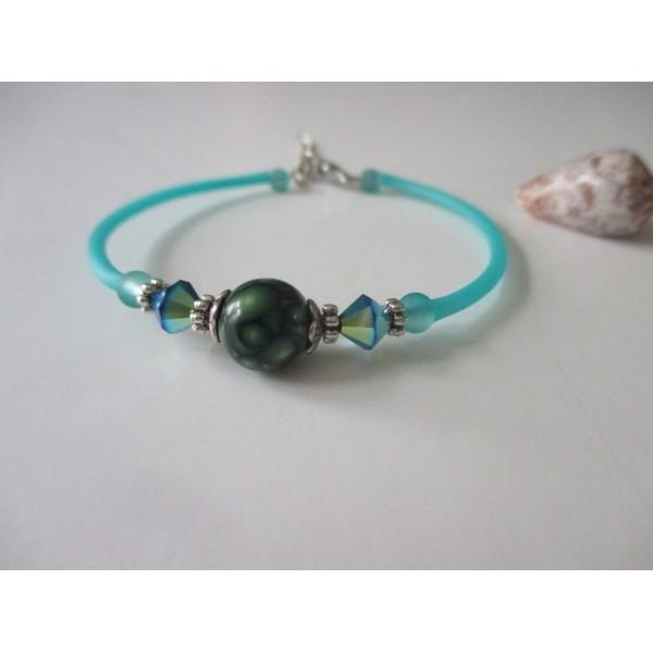 Kit bracelet fil à mémoire de forme turquoise et apprêt argent mat - Photo n°1