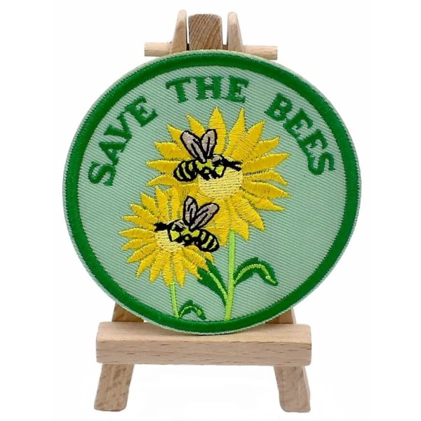 Ecusson brodé Save the bees patch thermocollant  Sauvons les abeilles - Photo n°1
