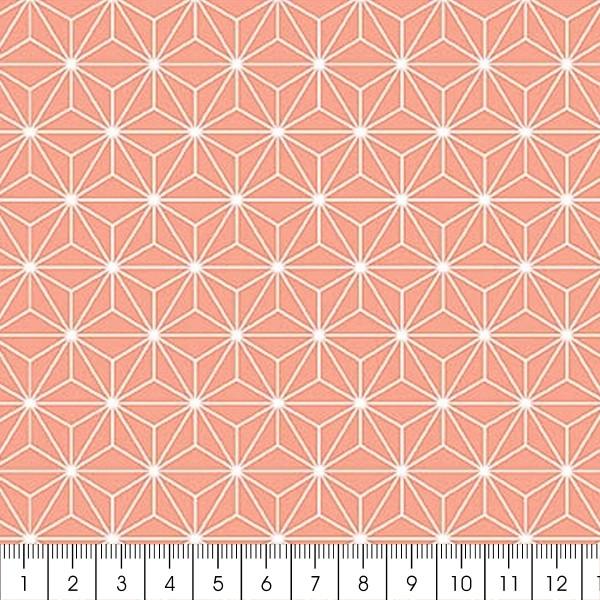 Grand coupon de tissu coton microfibre - Motif Etoile scandinave - Corail - 300 x 160 cm - Photo n°2