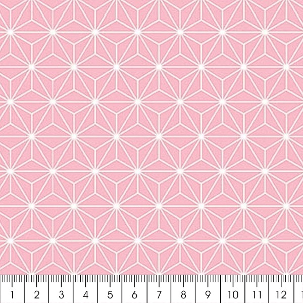 Grand coupon de tissu coton microfibre - Motif Etoile scandinave - Rose - 300 x 160 cm - Photo n°2