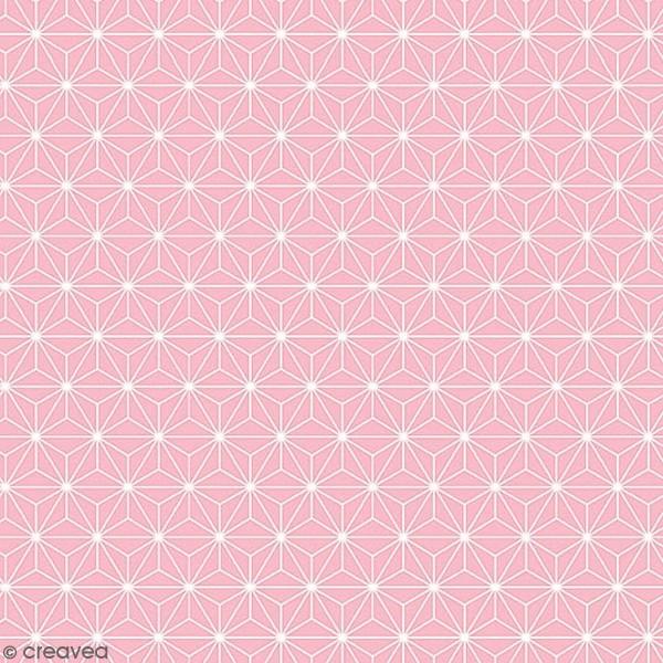 Grand coupon de tissu coton microfibre - Motif Etoile scandinave - Rose - 300 x 160 cm - Photo n°1