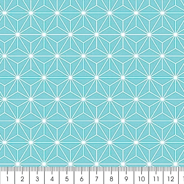 Grand coupon de tissu coton microfibre - Motif Etoile scandinave - Bleu clair - 300 x 160 cm - Photo n°2
