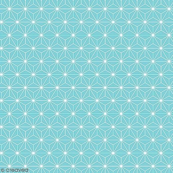 Grand coupon de tissu coton microfibre - Motif Etoile scandinave - Bleu clair - 300 x 160 cm - Photo n°1
