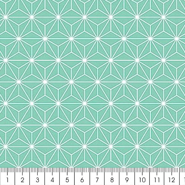 Grand coupon de tissu coton microfibre - Motif Etoile scandinave - Bleu turquoise - 300 x 160 cm - Photo n°2