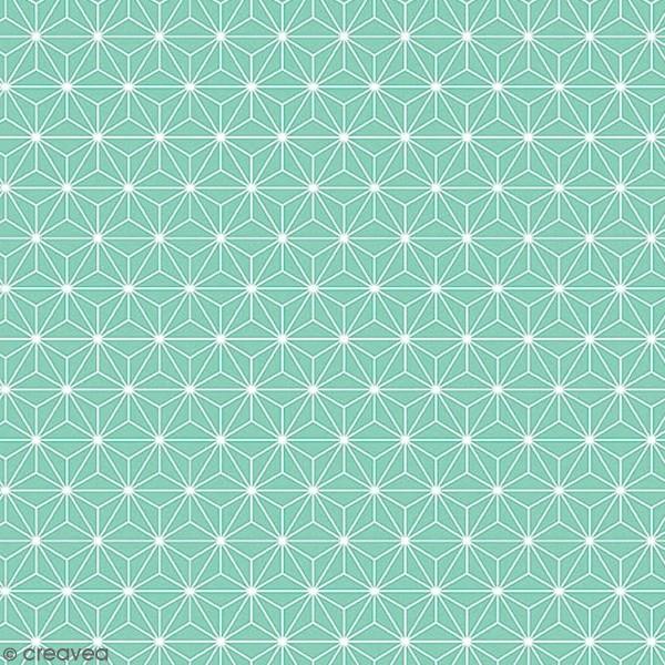 Grand coupon de tissu coton microfibre - Motif Etoile scandinave - Bleu turquoise - 300 x 160 cm - Photo n°1
