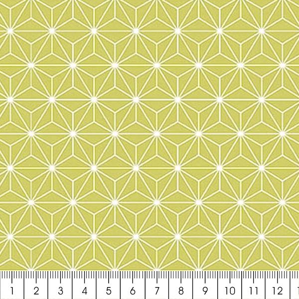 Grand coupon de tissu coton microfibre - Motif Etoile scandinave - Vert - 300 x 160 cm - Photo n°2
